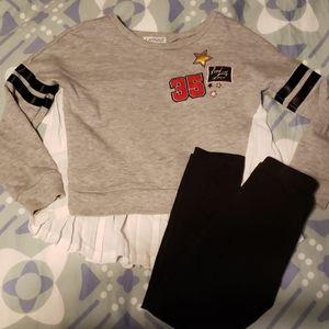 Flapdoodles Varsity style top and leggings